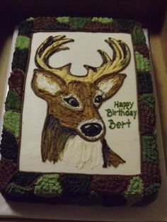Camo Deer Head Birthday Cake