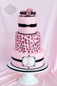 Cheetah Print Baby Shower Cake Girl