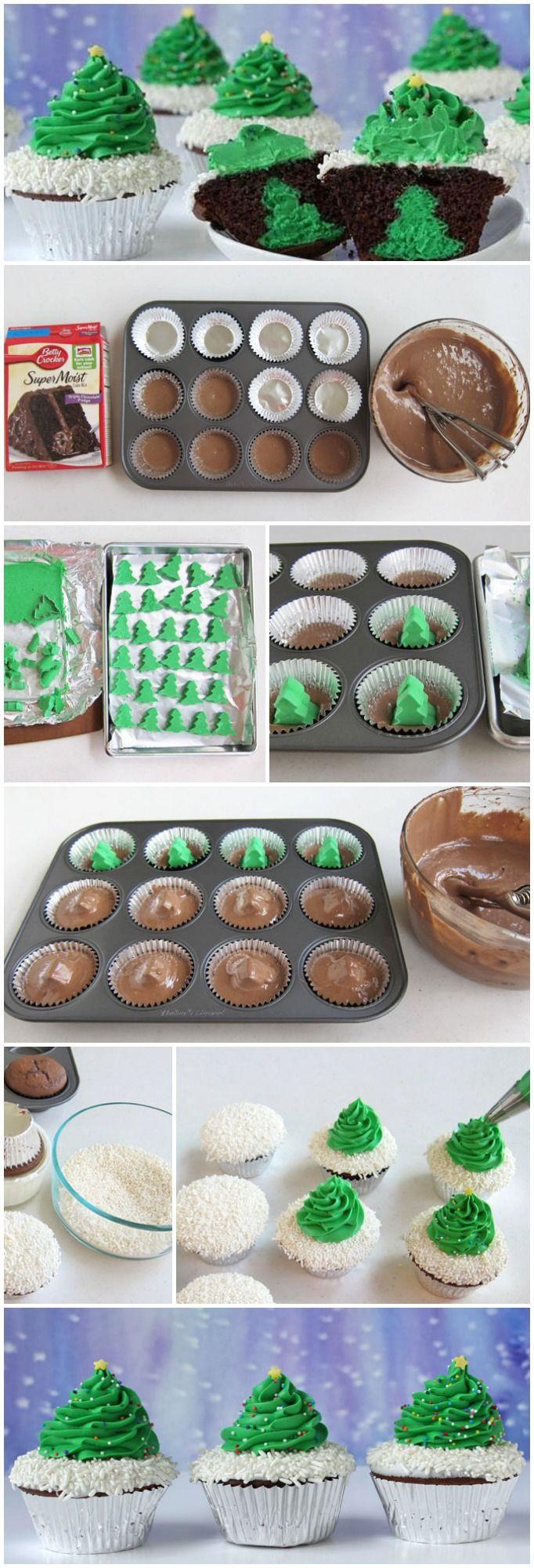 Christmas Tree Cheesecake Stuffed Cupcakes Recipe