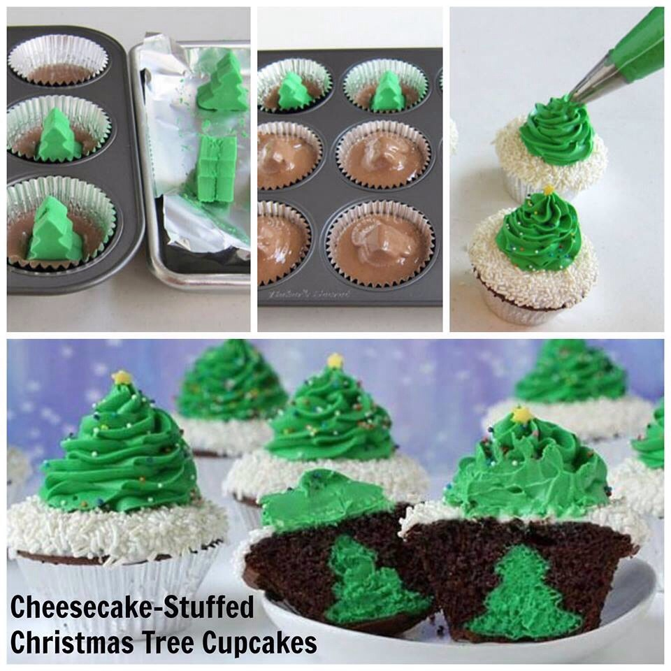 Christmas Tree Cheesecake Stuffed Cupcakes