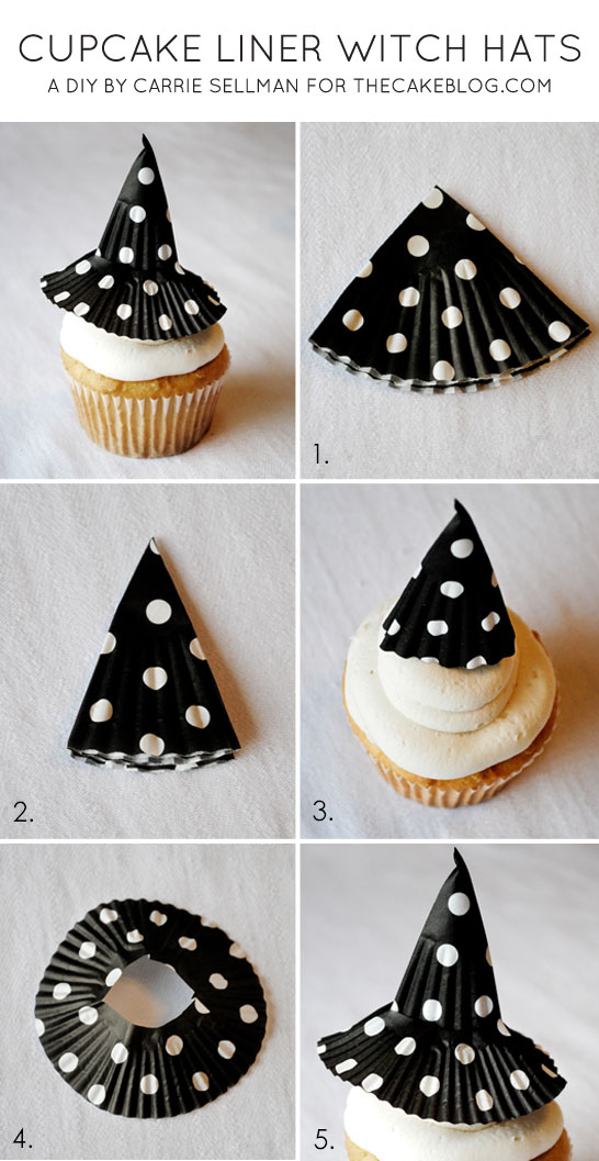 Cupcake Liner Witch Hats Halloween