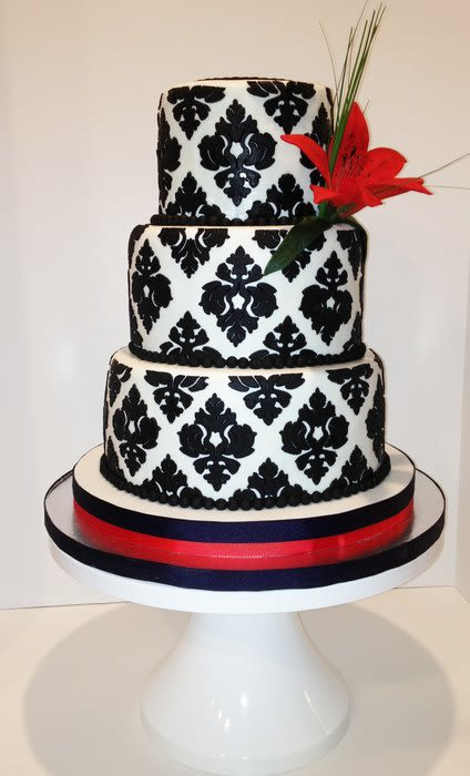 Damask Wedding Cake with Red