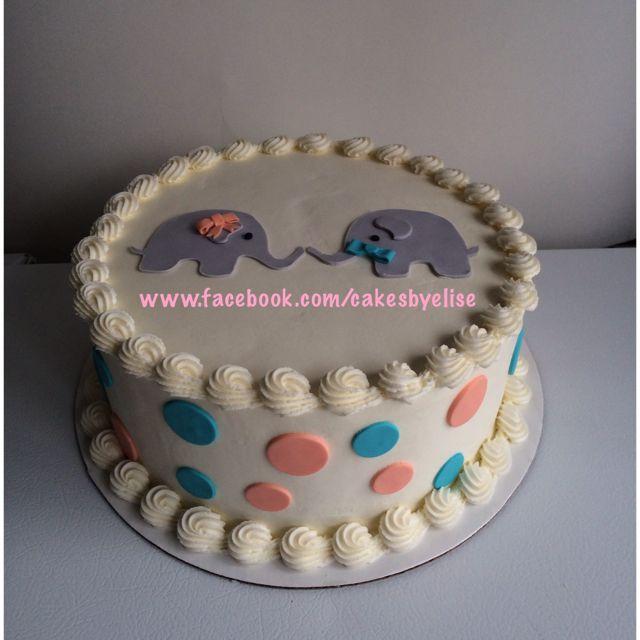 Elephant Gender Reveal Cake