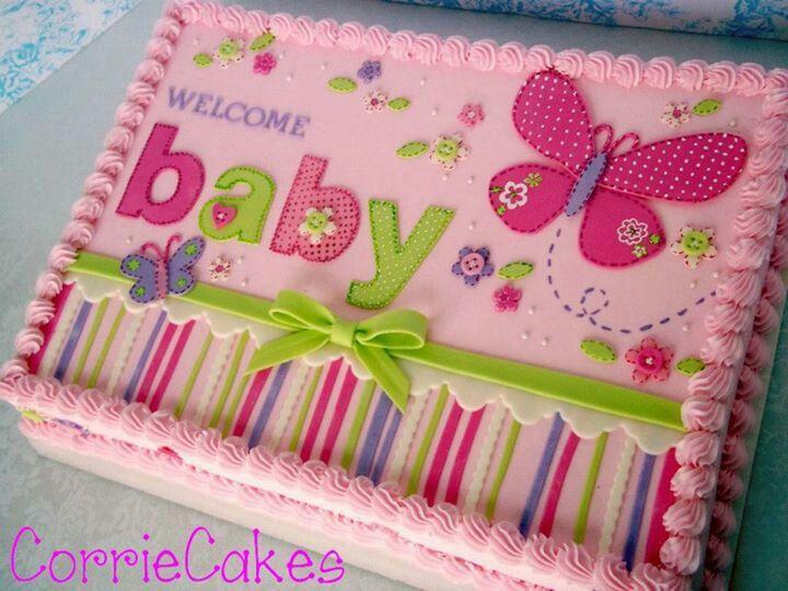 Girl Baby Shower Sheet Cake