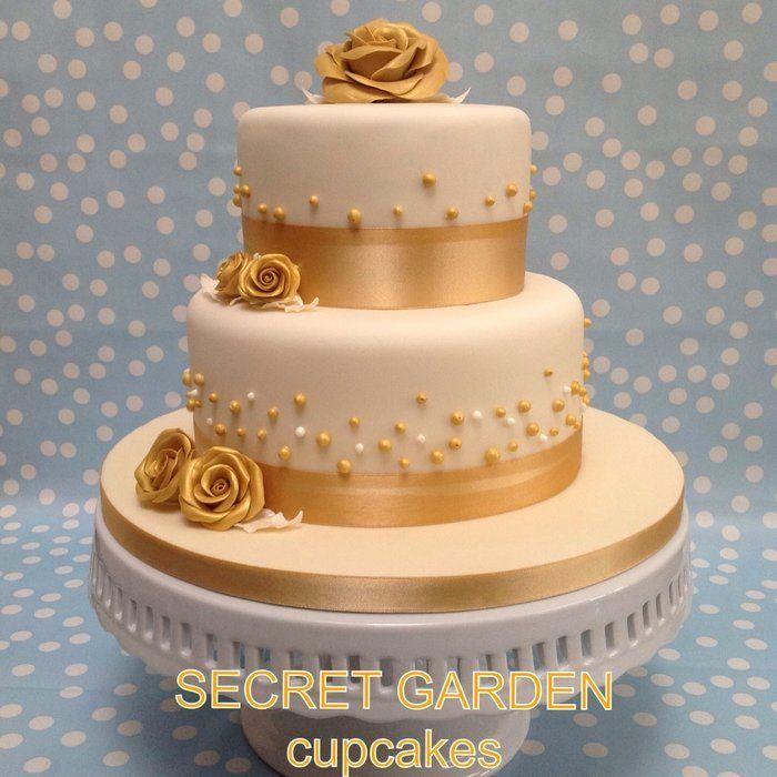 Gold and Ivory Wedding Cake