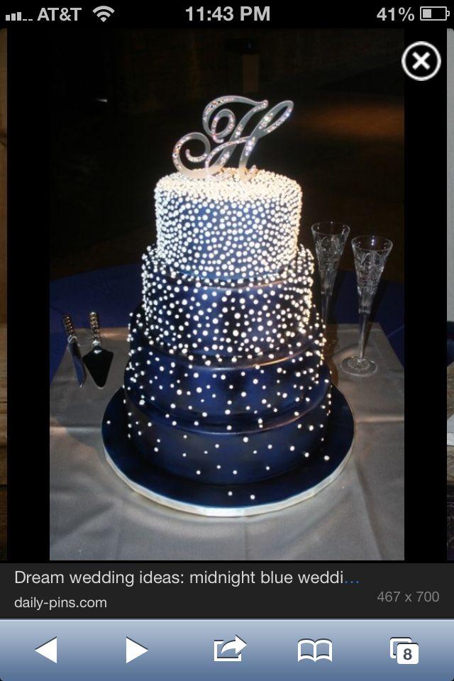Navy Blue Bling Wedding Cake