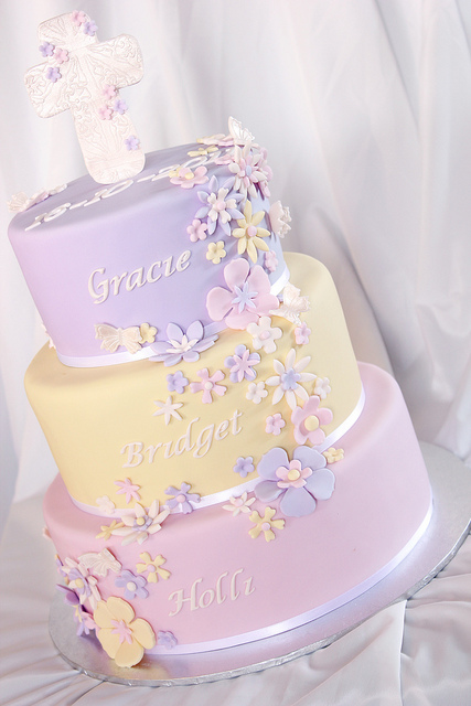 10 Photos of Three Tier Baptism Cakes