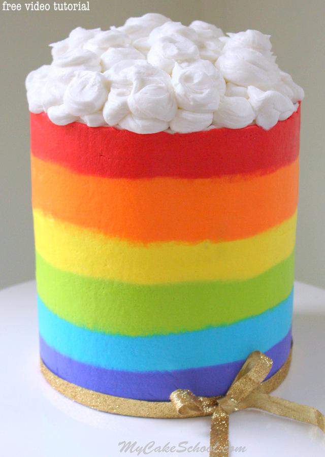 Rainbow Cake with Buttercream