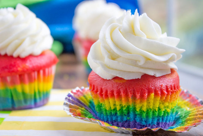 Rainbow Cupcakes with Vanilla Frosting