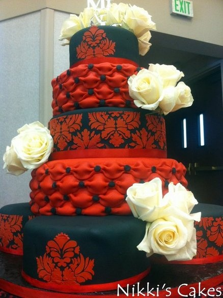 Red and Black Damask Wedding Cake