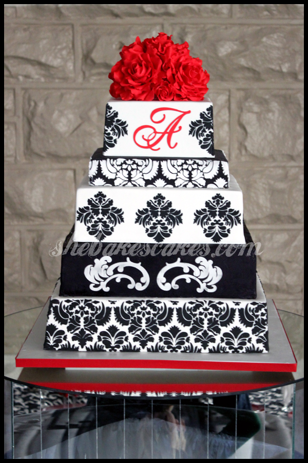 Red White and Black Damask Wedding Cake