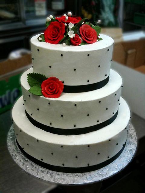 Red White and Black Wedding Cake