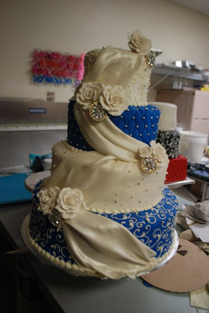 Royal Blue and Champagne Wedding Cake