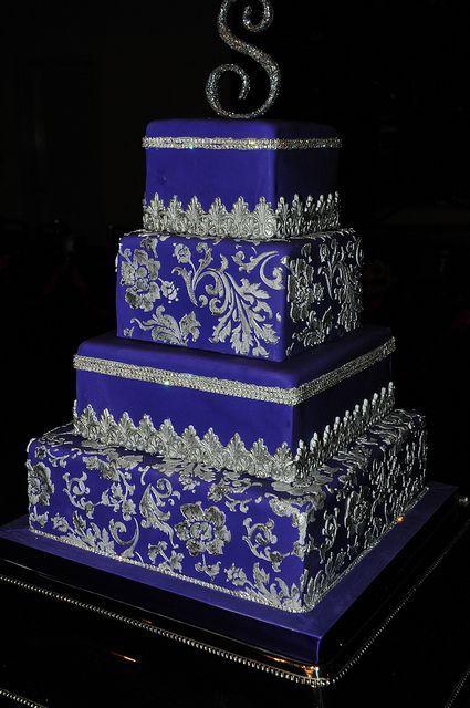 Royal Blue and Purple Wedding Cake