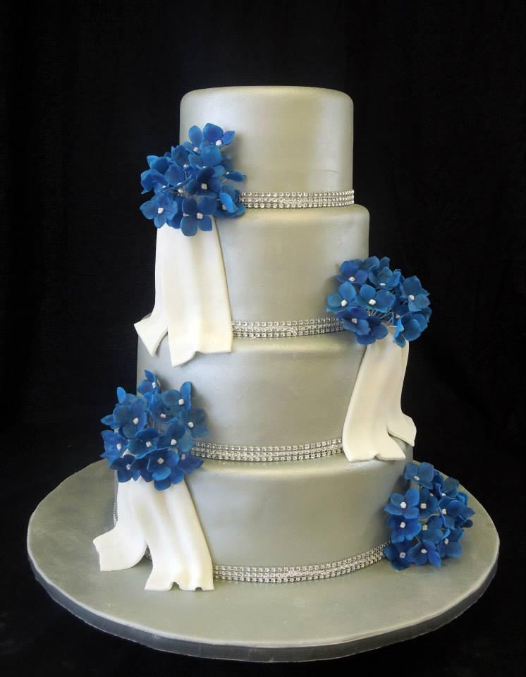 13 Photos of Sapphire Silver Wedding Cakes