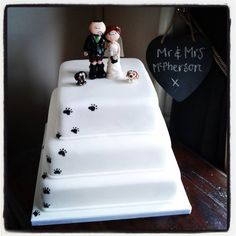 Wedding Cake with Paw Prints