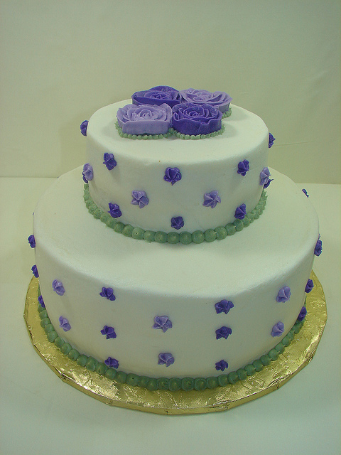 White Bridal Shower Cakes with Purple