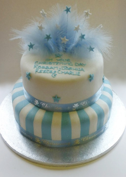 White First Communion 2 Tier Christening Cake