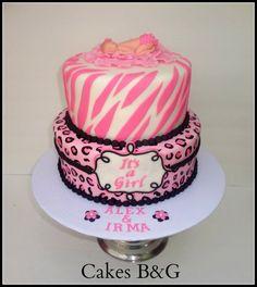 Zebra Print Baby Shower Cake