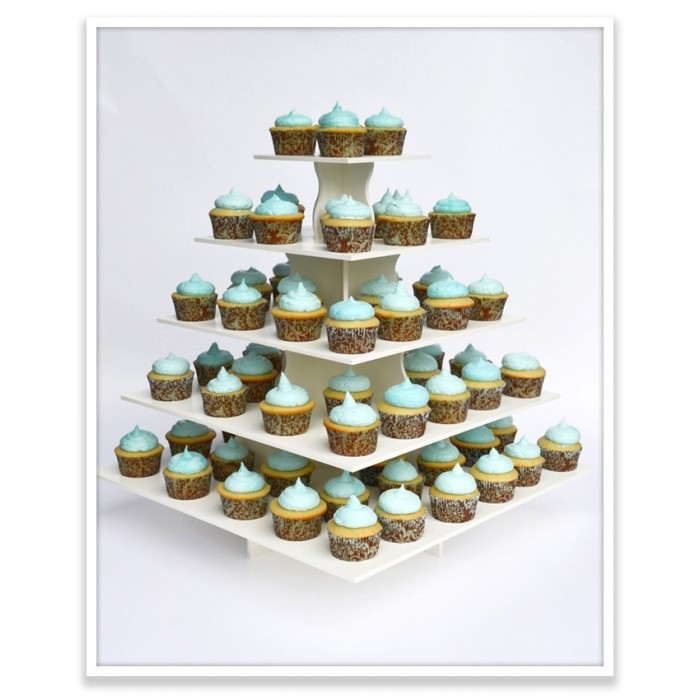 5 Tier Square Cupcake Tower
