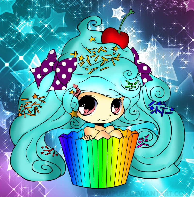 Anime Girl with Cupcake