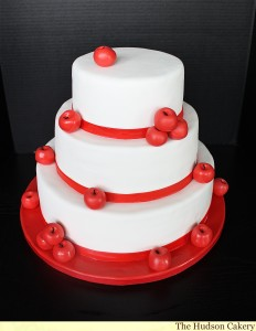 Apple Red and White Wedding Cakes