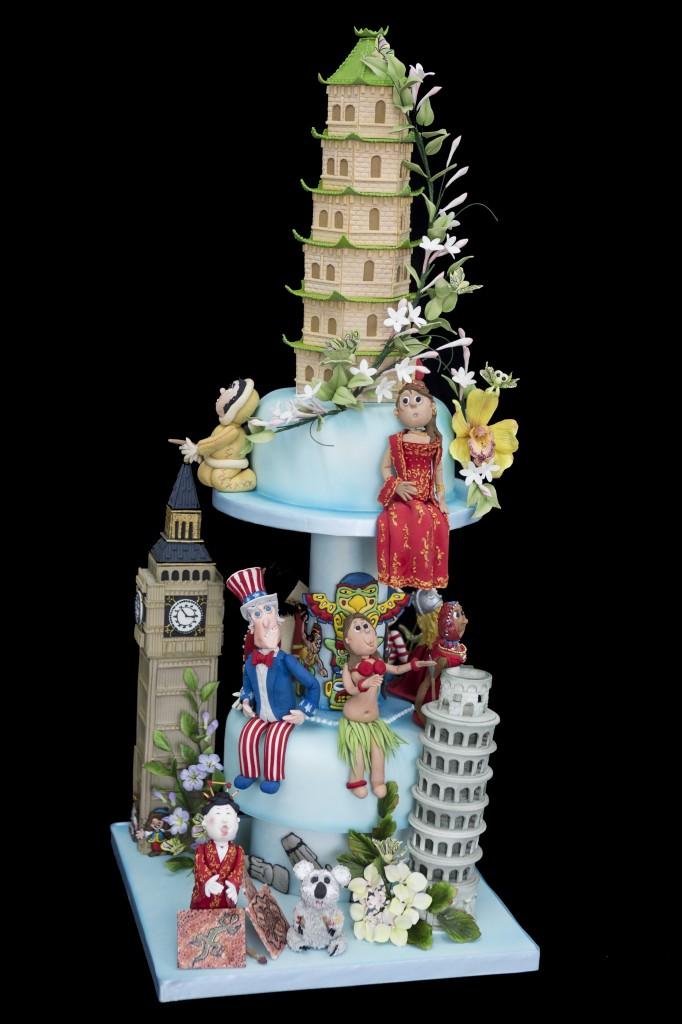Around the World Wedding Cake