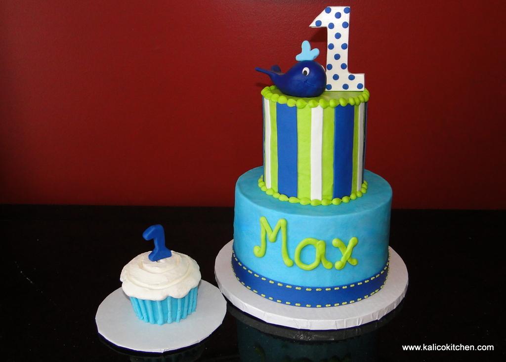 Baby First Birthday Cake Green Blue