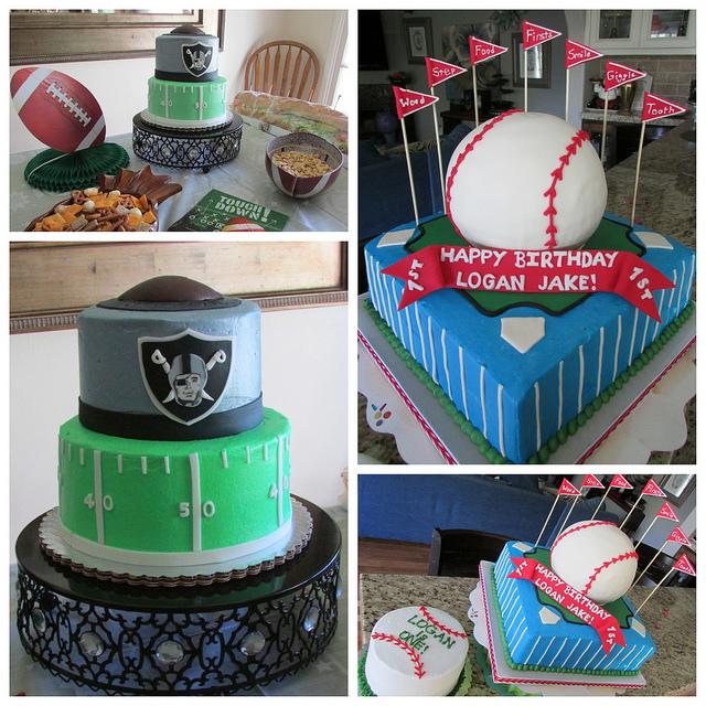 Baseball and Football Cake