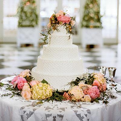 Basketweave Wedding Cake with Flowers