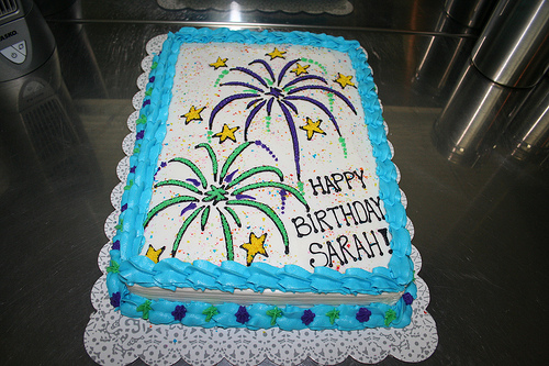 Birthday Cake with Fireworks
