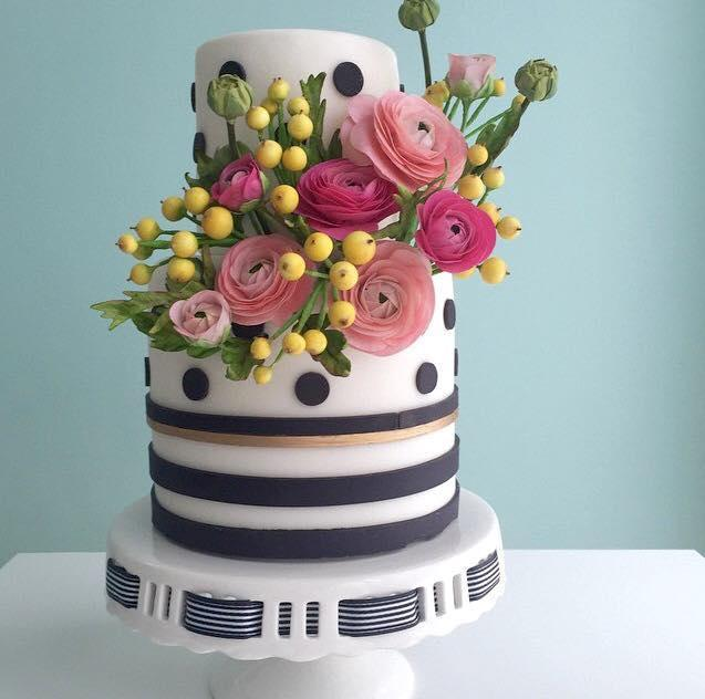 Black and White Cake with Polka Dots