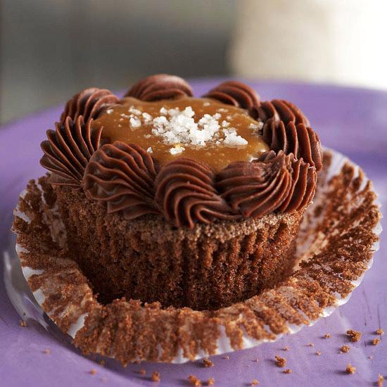 Bourbon Caramel Chocolate Cupcakes