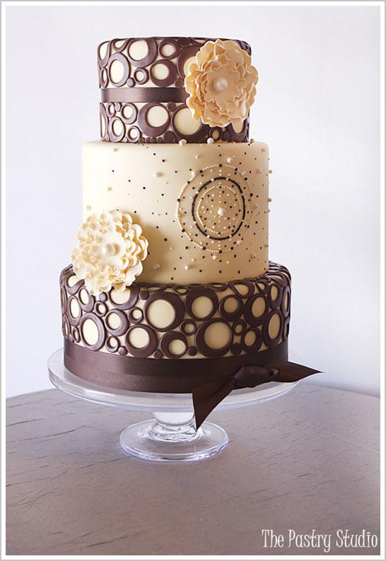 Brown and Yellow Wedding Cake