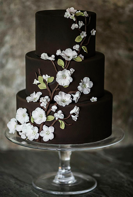 Brown Wedding Cake with Flowers