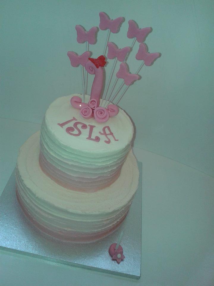 Buttercream Wedding Cake with Butterflies