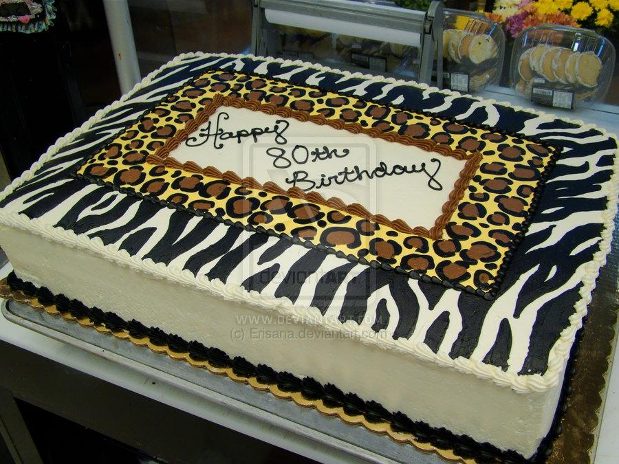 Cheetah Print Birthday Sheet Cake