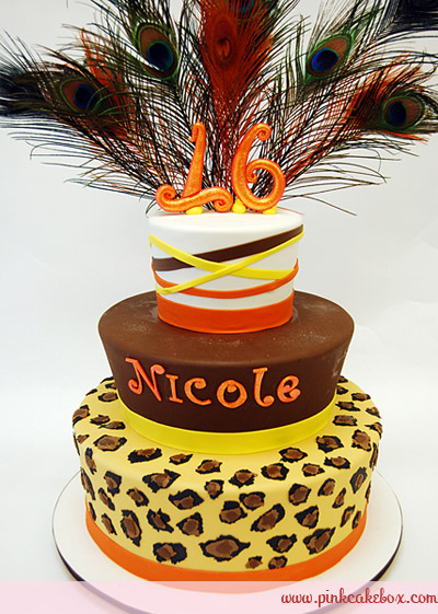 Cheetah Print Sweet 16 Birthday Cakes