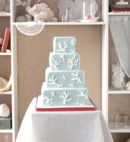 Coral and Teal Beach Wedding Cake
