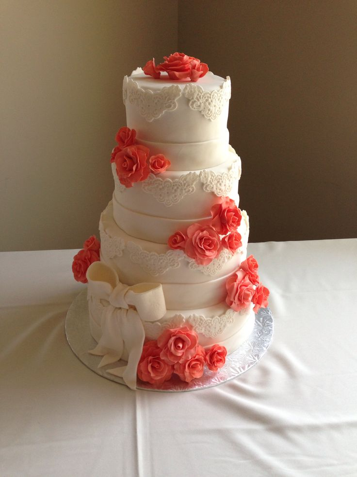 Coral and White Roses Wedding Cake