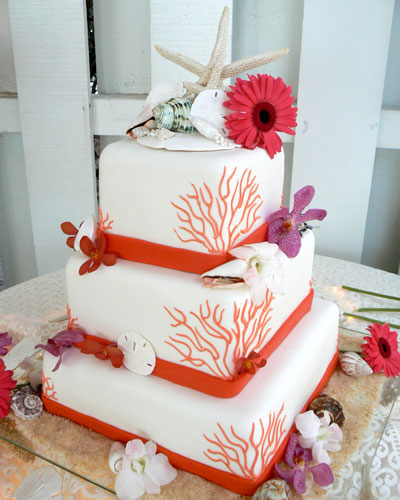 Coral Beach Theme Wedding Cake