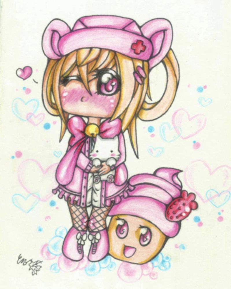 Cute Anime Cupcake Girl Drawing