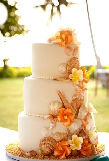 Fall Beach Wedding Cake