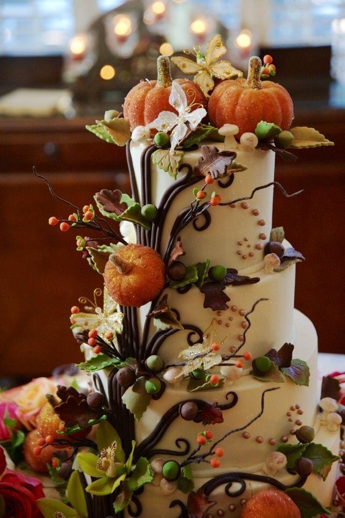 Fall Pumpkin Wedding Cake