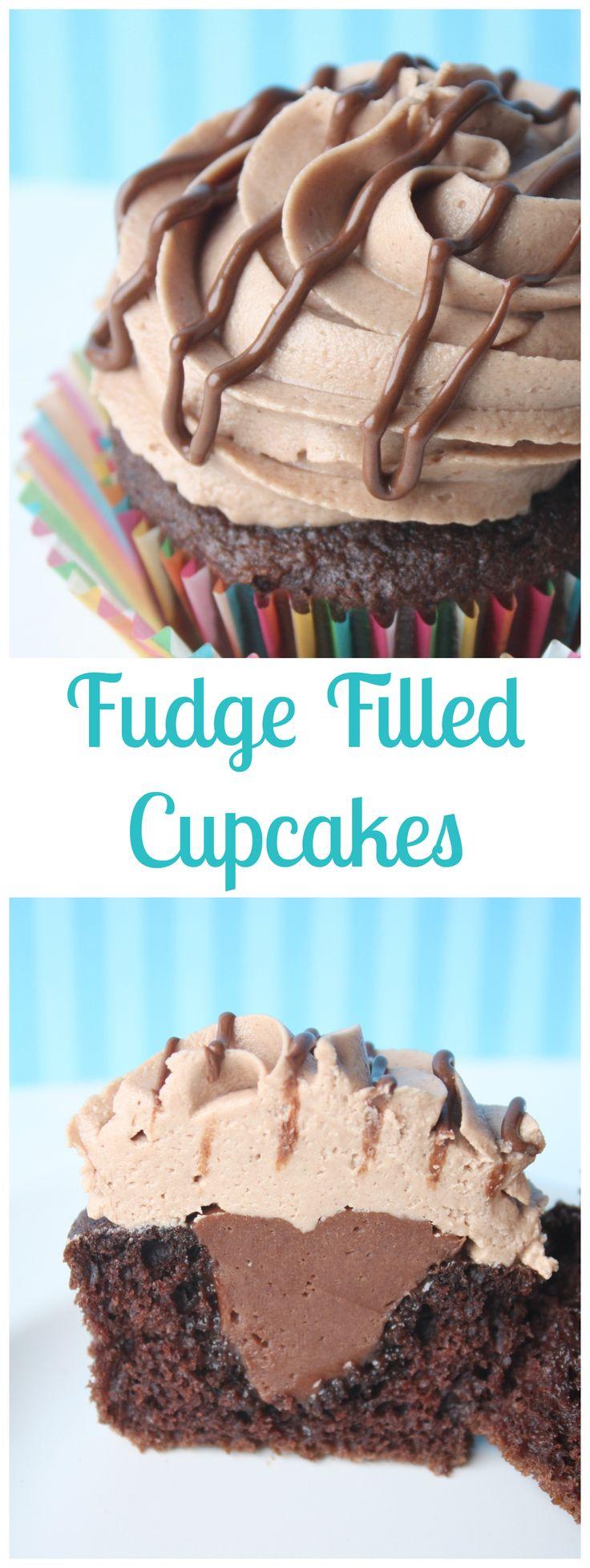 Fudge Filled Chocolate Cupcake
