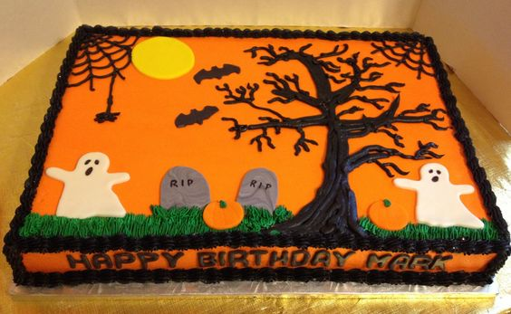 Halloween Birthday Sheet Cake