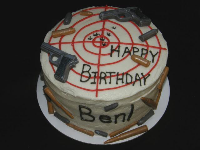 Happy Birthday Cake Gun and Bullets
