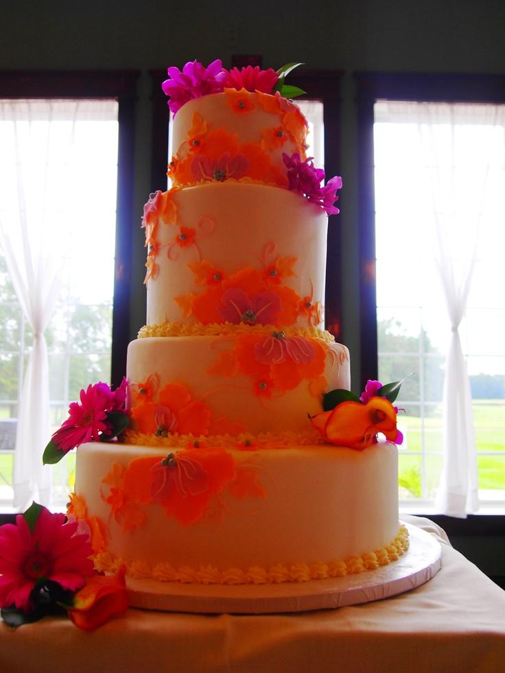 Hot Pink and Orange Wedding Cake