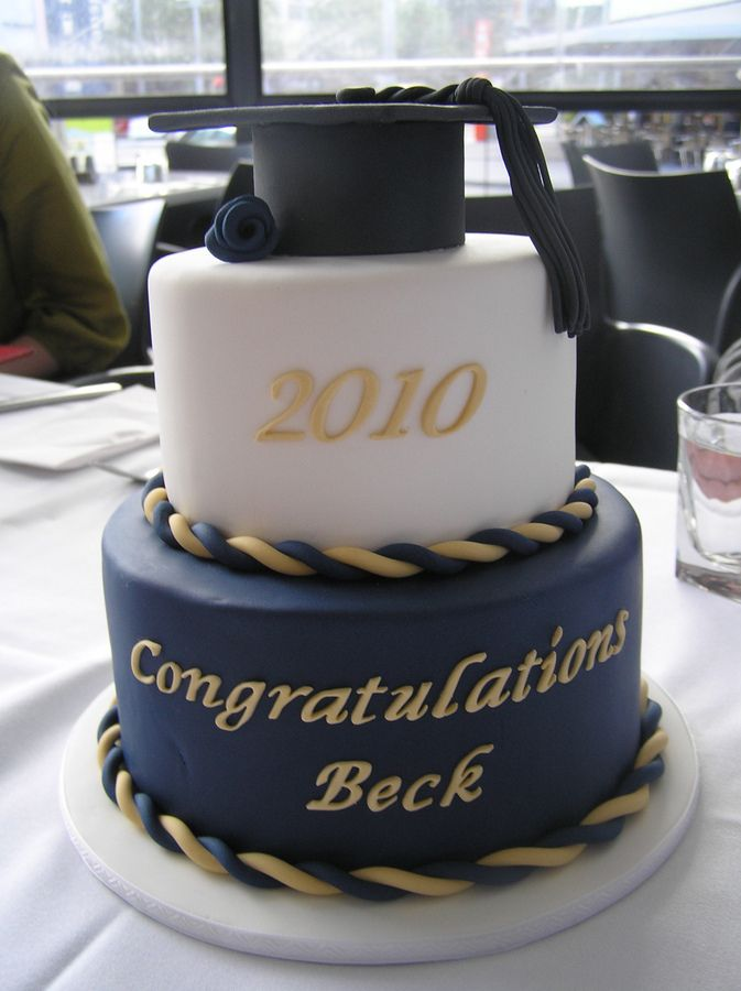Navy Blue and White Graduation Cakes