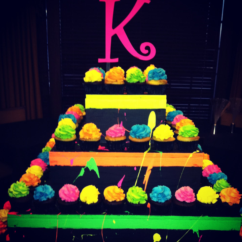 Neon Birthday Party Cake Ideas
